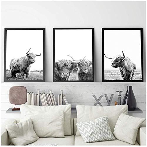hpkcine Freiheit Highland Cattle Poster Und Drucke Schwarz Weiß Wandkunst Leinwand Malerei Kuh Wandbilder Für Wohnzimmer Kunst Dekoration Rahmenlose