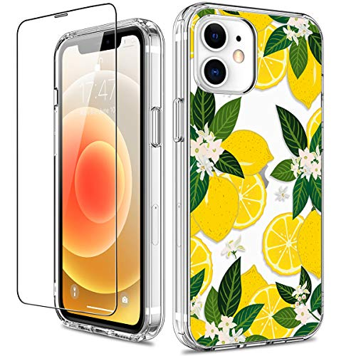 GiiKa for iPhone 12 Case, iPhone 12 Pro Case, Clear Full Body Protective Floral Girls Women Shockproof Hard Case with TPU Bumper Cover Phone Case for iPhone 12, Yellow Lemons