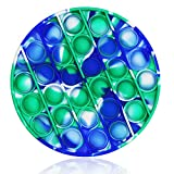 Pop Push Bubble Sensory Fidget Toy, Bubble Popping It Silicone Game Toy Anxiety Stress Reliever Autism Learning Materials Gift for Kids Teens Adults (Tie Dye Green-Circle)