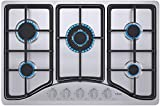 "IsEasy Gas Cooktop 30"" Stainless Steel 5 Burners Gas Stove with NG/LPG Conversion Kit"