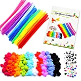 Scovolini Pipa Ciniglia Steli con fai da te Tutorial, Incluso 200Pcs Pipe Cleaners, 200Pcs Pom Poms,200Pcs Self-Sticking Wiggle Googly Eyes.