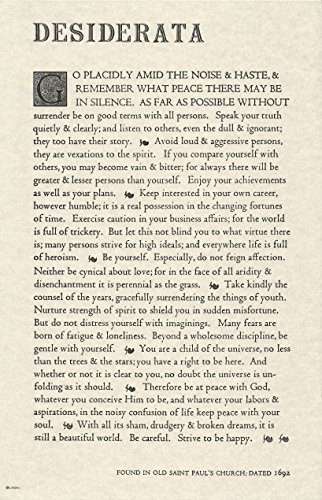 The Desiderata Poem by Max Ehrmann. 11 X 17 Poster on Archival Parchment Paper. by Desiderata Gallery
