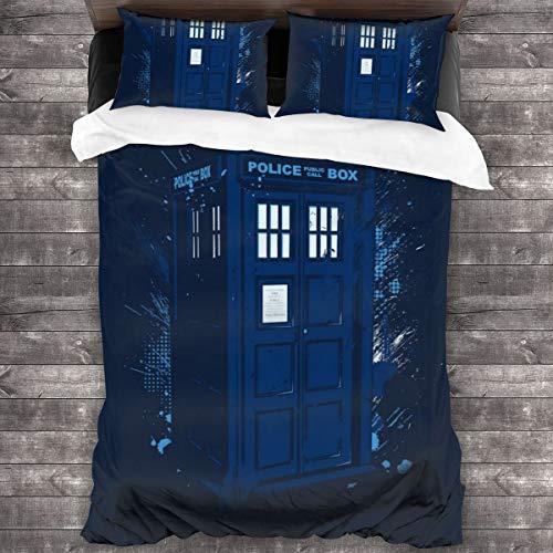 KUKHKU Travel In Time Tardis Doctor Who - Juego de cama de 3 piezas con funda de edredón de 86 x 70 pulgadas, 3 piezas decorativas con 2 fundas de almohada
