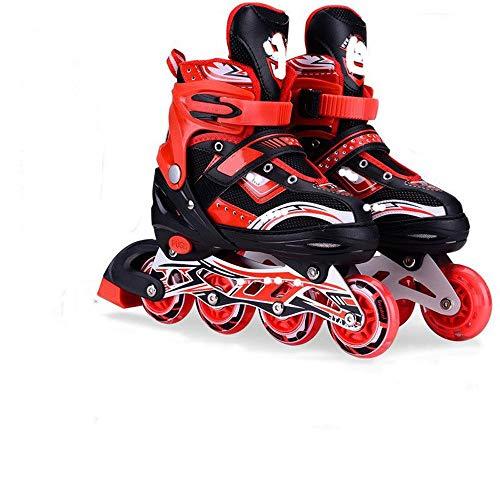 JKlb Kinder Männer und Frauen Einstellbare Inline Rollschuhe Teen Adult Upgrade Hochwertige Skates Einreihige Rollschuhe PU Mesh Schwarz Rot_L (38-42)