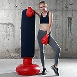 LONEEDY - Saco de boxeo hinchable de pie para adultos y adolescentes, para entrenamiento intenso, gimnasia, deportes, alivio del estrés, azul