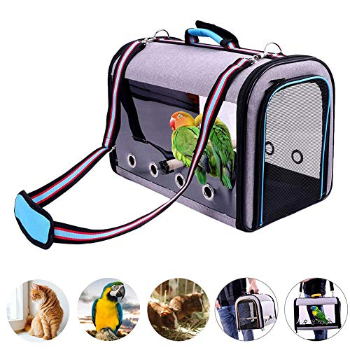 Parrot Backpack,Tragetasche für Vögel Papagei Rucksack,Bird Transport Cage Travel Cage Carrier with Panoramic Design Double Open Zip Design Ventilated Hole Construction Bird Carrier
