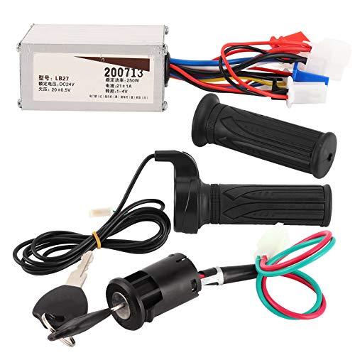 Bnineteenteam Kit de Controlador de Scooter eléctrico, Controlador de Velocidad E-Bike 24V 500W + empuñadura giratoria del Acelerador + Bloqueo eléctrico para Scooter eléctrico E-Bike