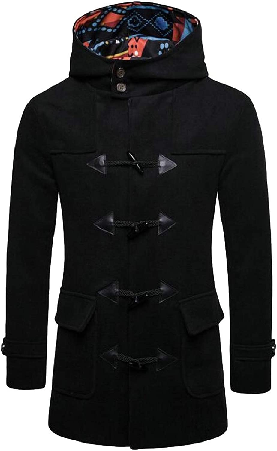 5ca291a3afbcd QD-CACA Mens Wool Blend Coat Horn Buckle Buckle Buckle Winter Hoodie ...