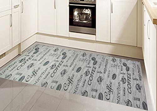 CARPETIA Küchenteppich Küchenläufer Coffee waschbar grau Größe 80x150 cm
