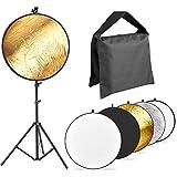 Neewer 写真反射板とスタンドキット 43インチ/ 110cm 5-in-1レフ板 190CMライトスタンド、ヘビーデューティクランプ、(2)サンドバッグ付き スタジオおよび屋外撮影用