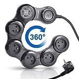 VASTFAFA - Multiprise Electrique/Parafoudre et Surtension 5 Prises (3680W et 16A) avec 4 Ports USB(5V 2.4A) - Cordon de 1.5m - Noir (Protection jusqu'à 1050 Joules)