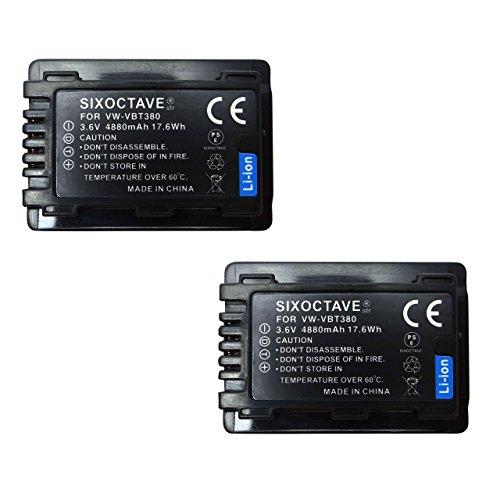 [SIXOCTAVE] 2個セット パナソニック 残量表示可能純正品と同じ使用方法 VW-VBT380/ VW-VBT380-K 互換バッテリー メーカー純正充電器チャージャーカメラ本体共に充電可能 HC-WX1M / HC-WZX1M / HC-VX1M / HC-VZX1M / HC-WXF1M / HC-WZXF1M / HC-VX990M / HC-VZX990M / HC-V210M / HC-V230M / HC-V360M / HC-V480M / HC-V520M / HC-V550M / HC-V620M / HC-V720M / HC-V750M / HC-VX980M / HC-W570M / HC-W580M / HC-W850M / HC-W870M / HC-WX970M / HC-WX990M / HC-WXF990M カメラ対応