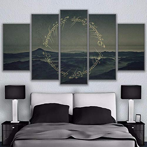 5 prints op canvas 5-delige canvas Lord Of The Rings Letters Poster Canvas foto Animal schilderij kamer decor print poster kunst aan de muur-maat-C