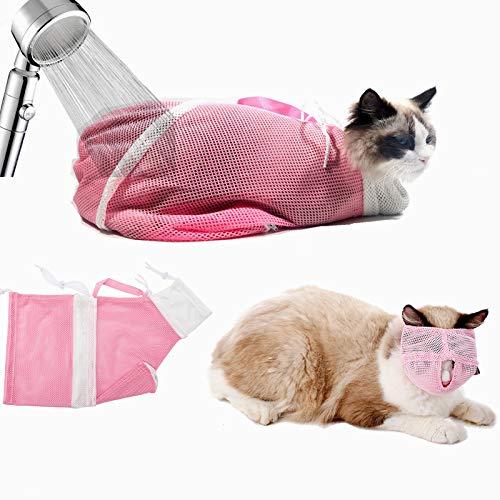 GuangZhou Fellpflegebeutel für Katzen Maulkorb für die Katzenpflege Verstellbare Restraint Bag Fuer Dusche Reinigungs Ohr Ausschnitt Naegel Medizin Fuetterung (Rosa)