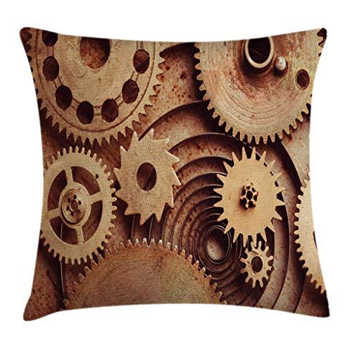 Funda de cojín industrial para cojín, dentro de los relojes temáticos engranajes mecánicos imagen en estilo Steampunk impresión 45,7 x 45,7 cm, marrón tostado