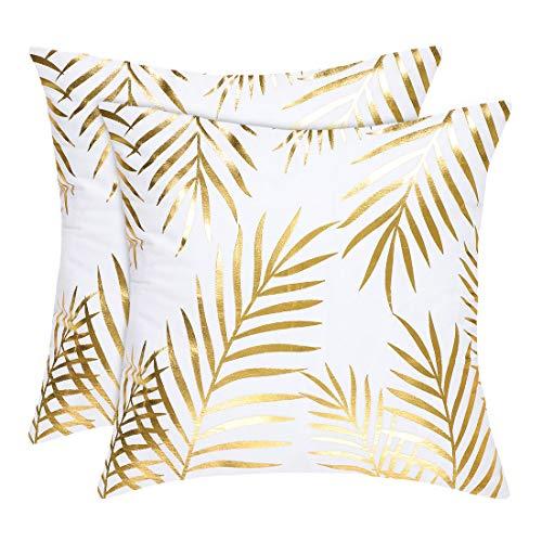 Sourcingmap - Juego de 2 fundas de almohada decorativas para el hogar, 45,7 x 45,7 cm, diseño de mapa de bronceado, color dorado, poliéster, 45 x 45 Centimeters