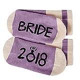COZOCO Womens Funny Bride 2018 Hombre Novio Novedad Crazy Crew Calcetines cortos Stocking (una talla, Púrpura)