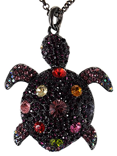 Alilang Colorful Amethyst Purple Crystal Gunmetal Sea Turtle Tortoise Pendant Necklace