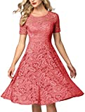 AONOUR 8006 Women's Vintage Floral Lace Elegant Cocktail Formal Swing Dress with Short Sleeve Coral S