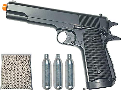Airsoft Pistol 1911 Style CO2 Non-Blowback 450 FPS with Free 1000 BBS & 3 x CO2 Capsules