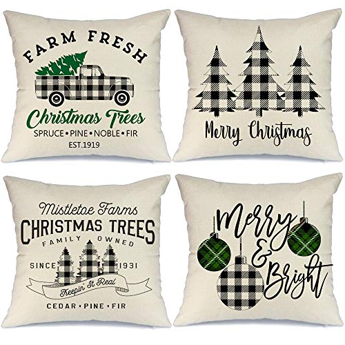 AENEY Buffalo Plaid Christmas Pillow Covers 18x18 Set of 4 Marry Bright Tree Christmas Pillows Rustic Winter Holiday Throw Pillows Farmhouse Christmas Decor Truck Xmas Decorations for Couch A281