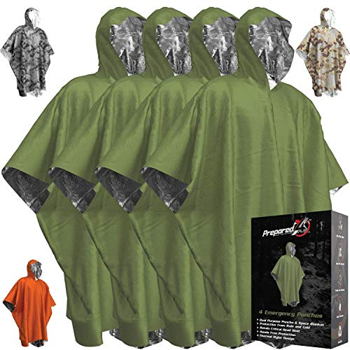 Emergency Blankets & Rain Poncho Hybrid Survival Gear and Equipment...