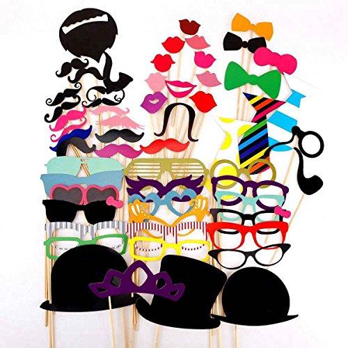 DAYAN 58PCS Masque avec Bâton pour fête Masquerade Cravate/Couronne/Lunettes/Moustache Party mariage Noël Halloween