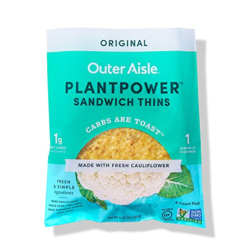 Outer Aisle Gourmet Cauliflower Sandwich Thins | Keto, Gluten Free, Low Carb & Paleo | Original | 4 pack | 24 Sandwich Thins