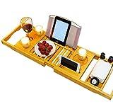 LA BELLEFÉE Plateau de Baignoire en Bambou Pont de Baignoire Extensible Rangement pour la Salle de Bain Support pour Téléphone Tablette Livre Porte-Verre de Vin et Autres Accessoires