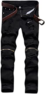 Leward Men's Ripped Skinny Distressed Destroyed Straight Fit Zipper Jeans Holes