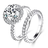 JIANGYUE Classic Bridal Sets Band Ring for Women, 3 Ct 8 Heart 8 Arrow White AAA Cubic Zirconia Rose Gold Big Main Stone Cocktail Engagement Wedding Mothers Day Gifts Rings Size 5
