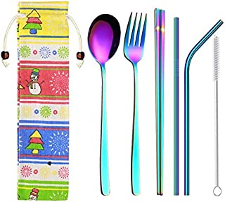 Korean Dinnerware Set Stainless Steel Portable Cutlery Chopsticks Fork Spoon with Metal Straws Cocktail for Travel Cutlery Set - lenox dinnerware