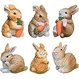 ZSWQ 6 figuras de adornos de jardín de conejos conejos accesorios de jardín de hadas, mini figuras...