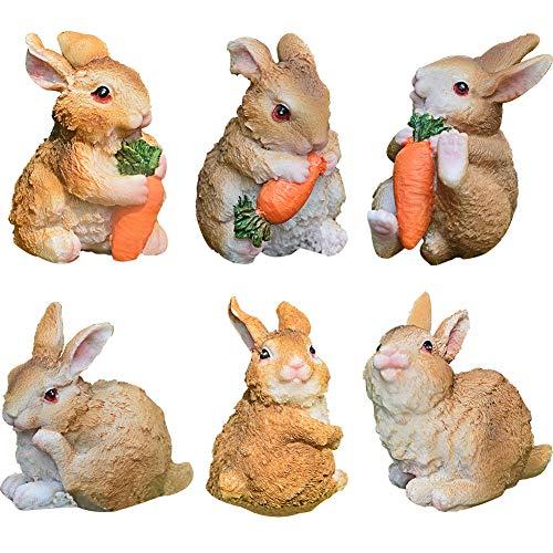 Set Kaninchen aus Polyresin ZSWQ-Garten Yard Büro Dekoration,Mini Häschen Karotte Dekoration für Haus Garten Yard Büro Dekoration, Osterdekoration Frühlingsdeko Dekoration