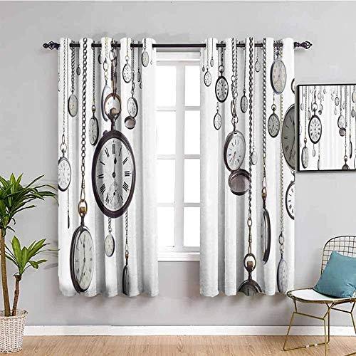Nileco Cortinas de Opacas - Vintage blanco tiempo reloj de bolsillo - 280x160 cm - 3D Impresión Digital con Ojales Aislamiento Térmico - para Sala Cuarto Comedor Salon Cocina Habitación