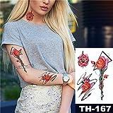 tzxdbh 3Pcs-Etiqueta engomada del Tatuaje Impermeable Pigeon Skull Rose Pattern Water Turn Flower Flower Vine Body Body Tattoo Tattoo 3Pcs-