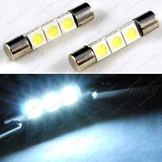 ZHOL SUPER BRIGHT White Vanity LED Light bulbs Mirror Fuse Sun Visor 3-SMD 6641 (A Pair)