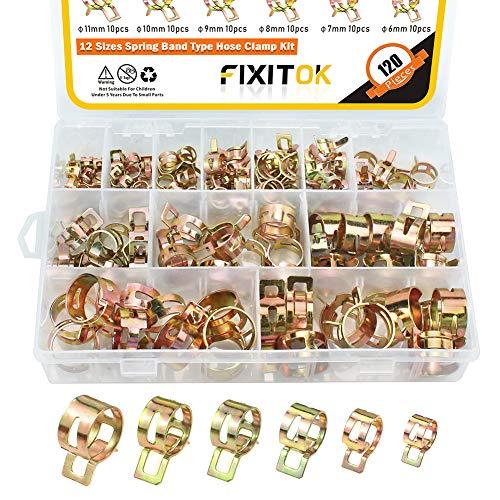 FIXITOK 120 Stück Kraftstoffleitung Schlauchschellen Benzinschlauch Wasserrohr Luftschlauch Silikon Vakuum Schlauchschelle Sortiment Kit (10 x 6mm 7mm 8mm 9mm 10mm 11mm 12mm 14mm 16mm 18mm 20mm 22mm)