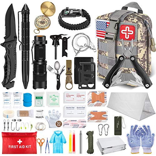 TAIMASI 100PCS Emergency Survival Kit and First Aid Kit, Professional Survival Gear Tool with...