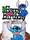 KAPOKKU Cute Cartoon Happy Birthday Cake Topper for Movie Lilo & Stitch Theme Cake Decor Boy Children Cartoon Party Decoration Kid's Birthday Party Decoration Supplies