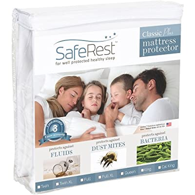 SafeRest Twin Extra Long (XL) Size Classic Plus Hypoallergenic 100% Waterproof Mattress Protector - Vinyl Free by SafeRest