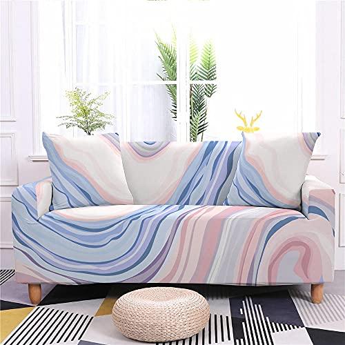 Funda de Sofá Elastica 4 Plazas Mármol Rosa Azul 3D PoliéSter Spandex Universal Ajustable Cubre Sofas Antisuciedad Antideslizante Protector Cubierta Muebles con Cuerda de Fijación