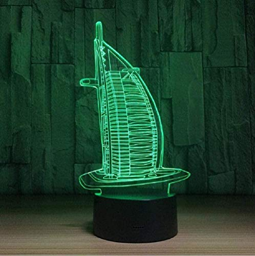 Lámpara de ilusión 3D de luz nocturna Burj Al Arab USB 7 tipos de cambio de color táctil + control remoto, utilizado para la decoración del dormitorio, regalos para niños