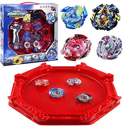 Bey Battle Blade Gyro Metal Fusion Evolution Sparking Attack Set with 4D Launcher Grip and Stadium Battle Set Toys for Kids