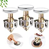 3PCS Stainless Steel Push-Type Bounce Core, Wash Basin Bounce Drain Filter,Pop Up Sink Stopper,Drain Plug 2 in 1 Bathroom Kitchen Sink Drain Plug with Basket(ONLY FOR 1.38'' DIAMETER)