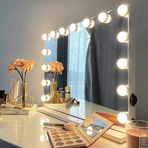 iCREAT Hollywood Schminkspiegel mit 15 dimmbaren Glühbirnen großer Kosmetikspiegel mit Beleuchtung intelligent Touchscreen-Helligkeitseinstellbar Theaterspiegel Tischspiegel 58X43 cm