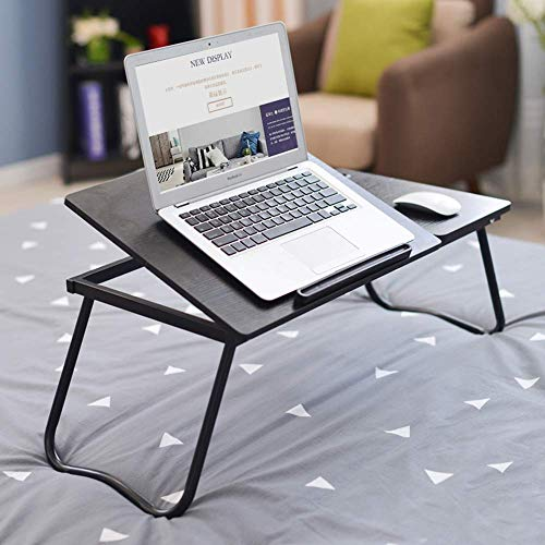 Laptop Stand for Bed and Sofa Kleine Folding Computer balie met pen Slot verstelbare draagbare Bed Table, witte esdoorn aijia (Color : Black Willow)