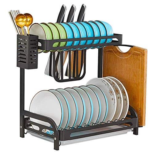 Schwarzer Geschirr-Organizer aus Edelstahl mit Abtropffläche und 3 Haken zum Aufhängen, platzsparendes Abtropfgestell für Teller, Schüsseln, Tassen, Gewürze 2 Ablagefächer