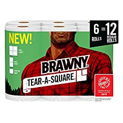 Brawny Tear-A-Square White Paper Towels, 6 Rolls, 6 = 12 Regular Rolls, 3 Sheet Size Options, Quarte