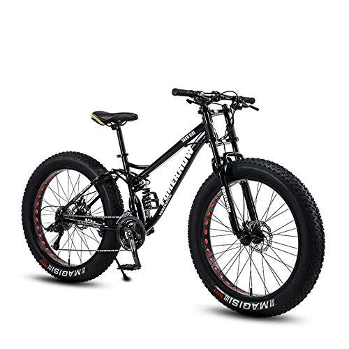 GASLIKE Vélo de Montagne pour Adulte de 26 Pouces Gras pour Adulte, vélos de Neige de Plage léger, vélo de croisière de Frein à Double Disque, Cadre en Acier au Carbone à Haute résistance,B,27speed
